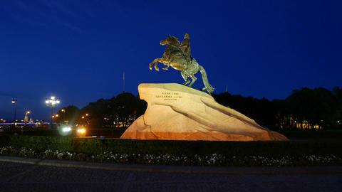 Majestic sculpture at Saint Petersburg, Bronze Horseman, night time shot Footage