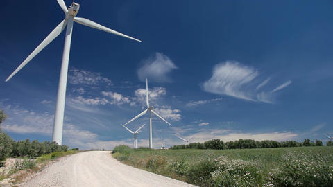 Clouds in the Blue Sky and Wind Power Footage