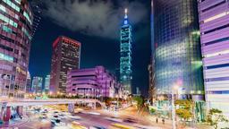 Taipei cityscape at twilight in Taiwan city Filmmaterial