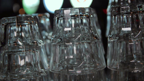 Row of empty drink glasses Footage