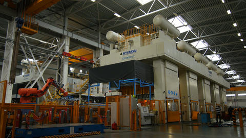 Large Automatic Machine Operates in Production Workshop Footage