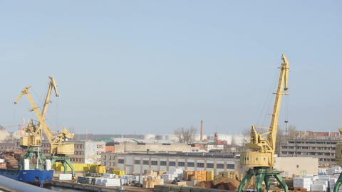 bird's-eye view of port panorama time lapse. Port of Riga, filmed from ferry boa Footage