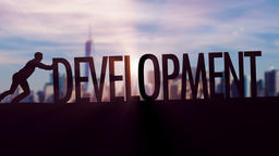 Development - Businessman silhouette pushing thematic title Animation