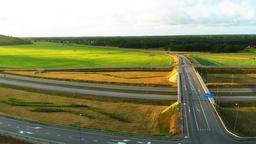 Cars on the high-speed road. Aerial footage Filmmaterial