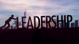 Leadership - Businessman silhouette pushing thematic title Animation