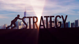 Strategy - Businessman silhouette pushing thematic title Animation