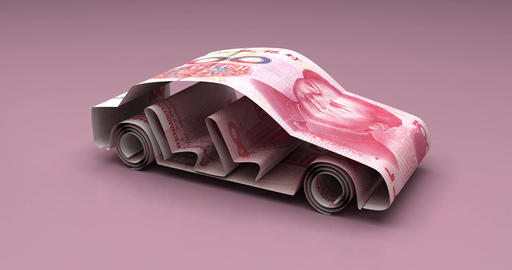 Car Finance with Chinese Yuan Animation