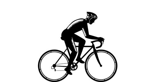 Cyclist Racing Side 2D Animation Animation