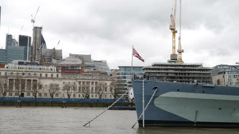 Flag of Britain on the bow of the ship Live Action