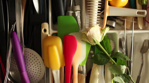 Rose in cutlery drawer gift cook Filmmaterial