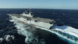 Future Amphibious Assault Ship USS America (LHA 6) Sails The Gulf stock footage