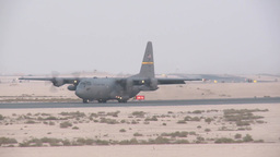 C-130 Hercules taxing Taken at Al Udeid AB, Qatar Footage