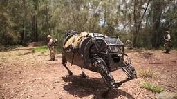 Marine LS3 robot patrols with Marines Footage