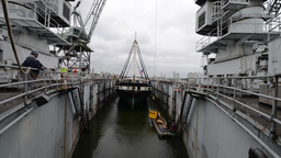 USS Constellation Enters Dry-Dock Footage