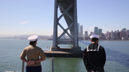 Marines, Sailors Man Rails of USS America During Fleet Week San Francisco Footage
