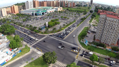Aerial view of City Buildings Mall and Intersection 02 Footage