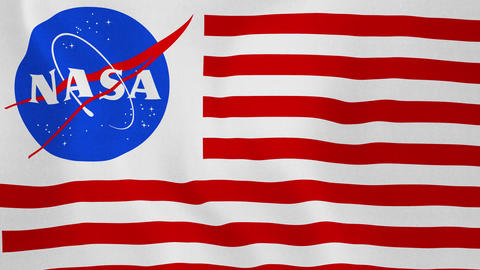 4K Loopable: Flag With NASA Logo Combined With Red-White Stripes Waving in The Footage