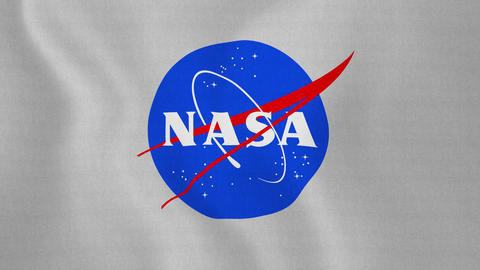 4K Loopable: Flag With NASA Logo Waving in Wind Footage