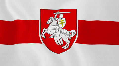 """4K Loopable: Historical Red-White-Red Flag of Belarus With 1991-1995 """"Pahonia"""" Footage"""