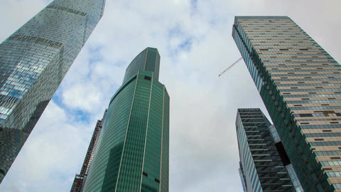 Glass skyscrapers against the sky Footage