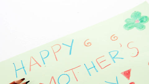 Color pencil kept on happy mothers day greetings card Live Action