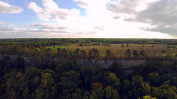 Aerial footage. Cliff and ocean. Autumn landscape Footage