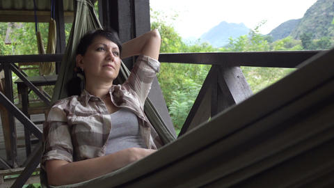 Woman relax in a hammock Footage