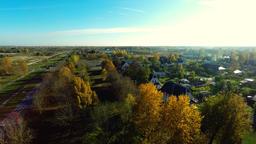 Autumn city landscape. Sunset. Aerial footage Footage