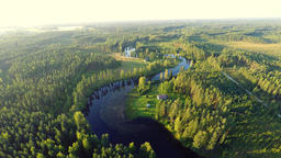 Aerial perspective of dam and forest
