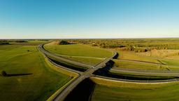 Highway traffic. Aerial footage Footage