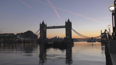 Time lapse. Before dawn. Beautiful sky over the bridge Footage