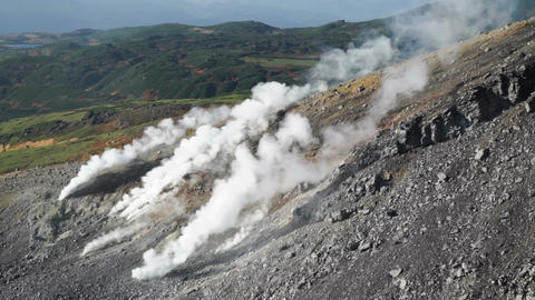 steam escaping from the volcanic vents in Mount Asahidake. ( Hokkaido, Japan) Live Action