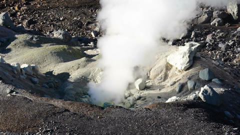 steam escaping from the volcanic vents in Mount Asahidake. ( Hokkaido, Japan) Footage