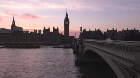 Time lapse. Red sky over the river. Big Ben Tower Footage