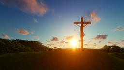 Silhouette of Jesus with Cross over sunset, religious concept Animation