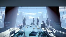 Business People Team, Rear View Cityscape, zoom in Animation