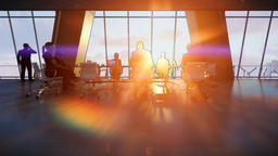 Business team in conference room, rear view sunset, 3d sketch to color Animation