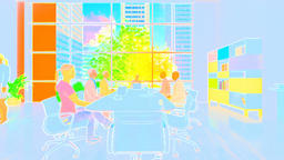 Business team meeting, rear view cityscape, zoom in, 3d illustration Animation