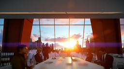 Businessmen team in conference room, rear view cityscape at sunset Animation