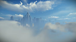 City skyline above clouds Animation