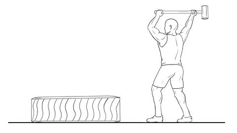 Fitness Athlete Hammer Workout 2D Animation Animation