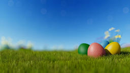Easter eggs on green meadow over blue blurry sky Animation