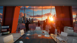 Silhouette of Business People Team, Rear View Cityscape at Sunset Animation