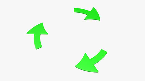 Three rotating green arrows. (loop ready) Footage