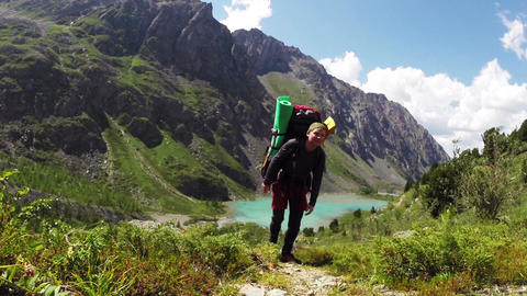 Man Hiking In Altai Mountains Footage