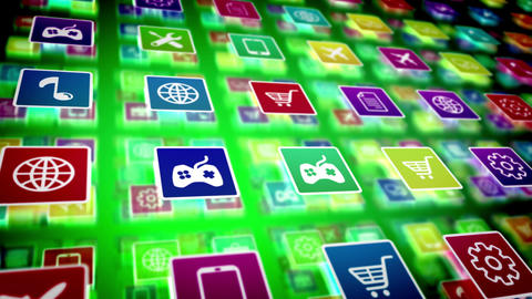 Mobile Cellphone Apps icons store concept Animation