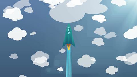 Cartoon Flat rocket flying up Videos animados