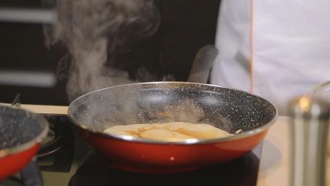 Chef making pancakes Footage