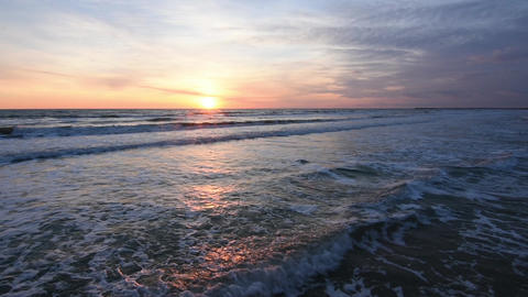 Sunset over the sea, the surf, the Black Sea, Anapa, Russia Live Action