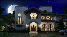 3d Mansion Moon and blue night sky Animation